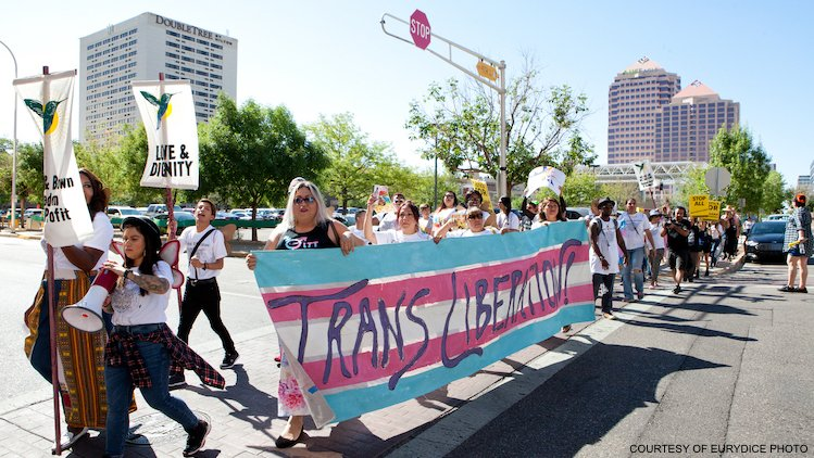 A group of people marching with a large trans flag banner.